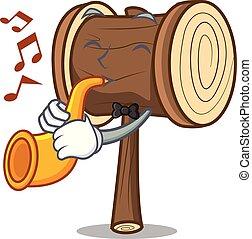 estilo, mascote, trompete, caricatura, malho
