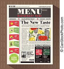estilo, menú restaurante, diseño, plantilla, periódico