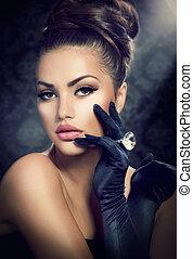estilo, menina, moda, beleza, portrait., desgastar, luvas, ...