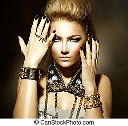 estilo, menina, modelo moda, retrato, balancim