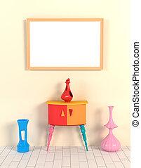 estilo, mocap, marco, ilustración, florero, contra, amarillo, memphis., interior, tabla, wall., memphis, 3d