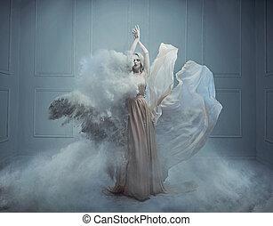estilo, moda, beleza, imagem, fantasia, impressionante, loiro