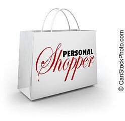 estilo, moda, compras, comprador, servicio, asistente personal, bolsa