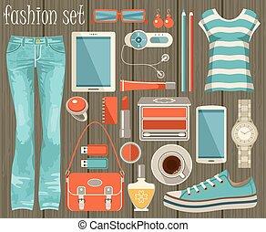 estilo, moda, conjunto, plano, design.