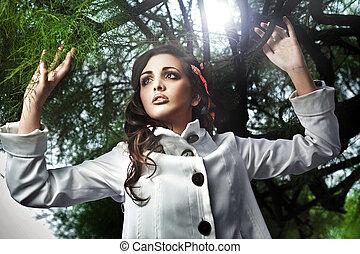 estilo, moda, foto, mulher jovem, atraente
