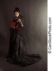 estilo, moda, gótico, retrato, modelo, niña