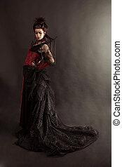 estilo, moda, gótico, retrato, modelo, menina