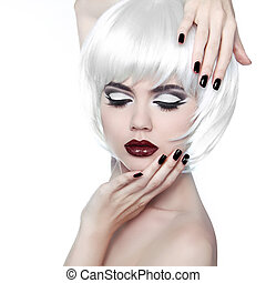 estilo, moda, hairstyle., belleza, mujer, elegante, hair., cortocircuito, maquillaje, manicured, retrato, woman., moda, blanco, nails.