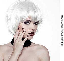 estilo, moda, hairstyle., belleza, mujer, hair., cortocircuito, manicured, retrato, polaco, woman., blanco, nails.