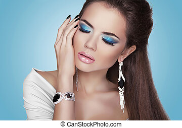 estilo, moda, jóia, beleza, mulher, portrait., menina, modelo, caro