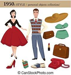 estilo, moda, mujer, personal, objetos, 1950, hombre