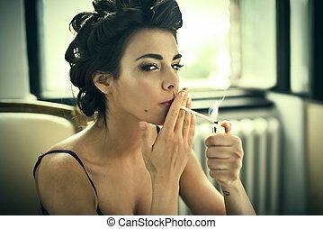 estilo, moda, mujer, retro, fumar, retrato, brazo de silla