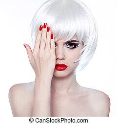 estilo, moda, nails., beleza, lips., cabelo, girl., manicure, make-up., branca, voga, woman., vermelho, hairstyle.