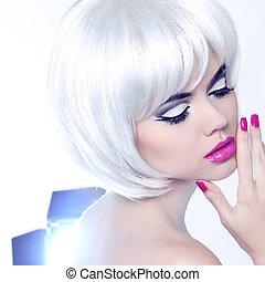 estilo, moda, nails., belleza, mujer, maquillaje, manicured, cortocircuito, hair., retrato, blanco
