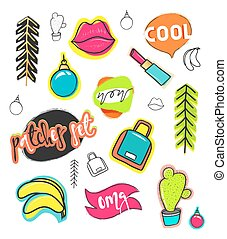 estilo, moda, remendos, collection., mão, desenhar, cômico, remendo, adesivos, caricatura