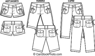 estilo, moda, senhora, 3, shorts