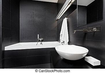estilo, moderno, cuarto de baño, minimalism, negro, tonos,...