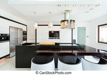 estilo, moderno, espacioso, cocina
