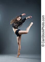 estilo, moderno, gris, bailarín, posar, plano de fondo