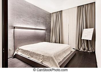 estilo, moderno, minimalism, tonos, dormitorio, interior, ...