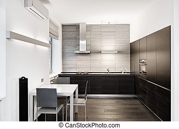 estilo, moderno, minimalism, tonos, interior, monocromo, ...