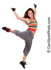 estilo, moderno, mujer, delgado, bailarín, cadera-salto