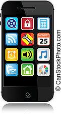 estilo, moderno, -, teléfono celular, vector