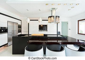 estilo, modernos, espaçoso, cozinha
