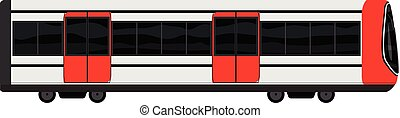 estilo, modernos, trem, metrô, ícone, caricatura