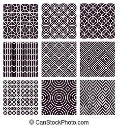 estilo, mono, seamless, padrões, vetorial, trendy, linha