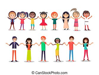 estilo, mostrar, pessoas, hholding, unidade, mãos, caricatura