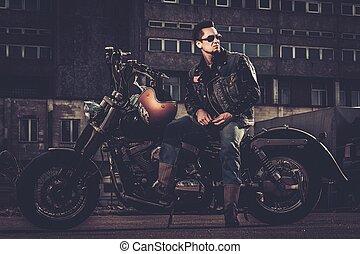 estilo, motocicleta, bobber, calles de ciudad, el suyo, ...