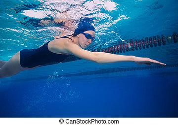 estilo, mujer, deportista, (stroke), arrastre, natación