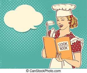 estilo, mujer, ella, room.reto, joven, ilustración, mano, chef apariencia, libro, tenencia, cocinero, cocina