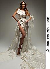 estilo, mujer, griego, antiguo, túnica, blanco