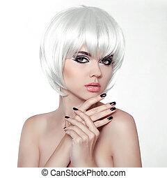 estilo, mujer, polaco, nails., belleza, maquillaje, manicured, cortocircuito, hembra, hair., retrato, blanco, moda