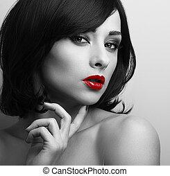 estilo, mujer, primer plano, pelo, negro, labios, retrato, ...