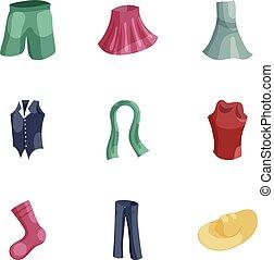 estilo, mulher, ícones, jogo, guarda-roupa, caricatura