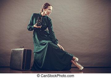 estilo, mulher, antigas, câmera, retro, mala