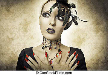 estilo, mulher, beleza, glamour, retro, retrato