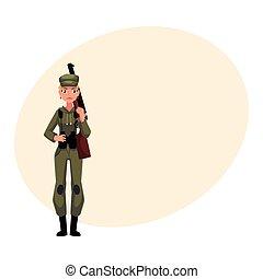 estilo, mulher, caça, caçador, camuflagem, cáqui, militar, roupas
