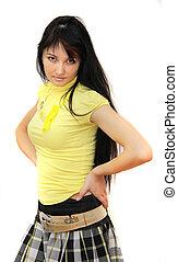 estilo, mulher, com, longo, cabelo preto