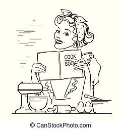estilo, mulher, dela, room.reto, jovem, ilustração, livro, segurar passa, cozinheiro, cozinha