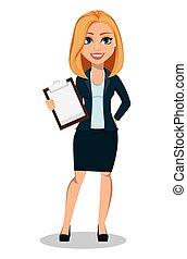 estilo, mulher, escritório, roupa negócio