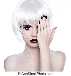 estilo, mulher, hairstyle., beleza, hair., shortinho, manicured, retrato, polaco, woman., voga, moda, branca, nails.
