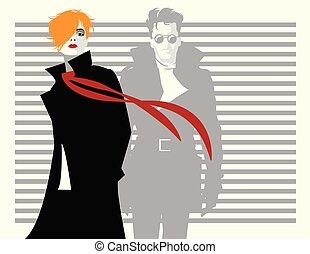 estilo, mulher, ilustração, vetorial, estouro, homem, moda, art.