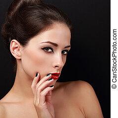 estilo, mulher, lips., maquilagem, olhar, luminoso, closeup, excitado, vermelho