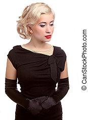 estilo, mulher, romanticos, maquilagem, cabelo, ondulado, pretas, atraente, loura, vestido