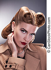 estilo, mulher, vindima, -, penteado, aristocrático, retro