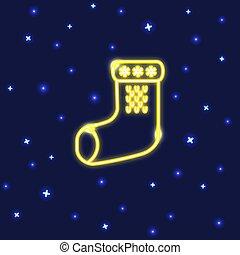 estilo, néon, meia, linha, natal, ícone